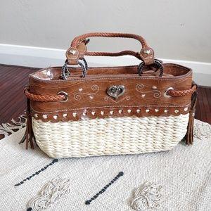 Woven Straw Brown Leather Tassel Handbag Tote
